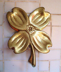 Brass Paperweight Vintage Virginia Metal Crafters Dogwood Flower Paper Weight