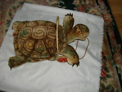 Vintage Collectible 50's Slo Stuffed Turtle On Wheels Mohair Steiff Pull Toy