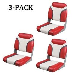 Boat Seats 3 Pack Red And Charcoal Vinyl Folding Pontoon Bass And Fishing Boats