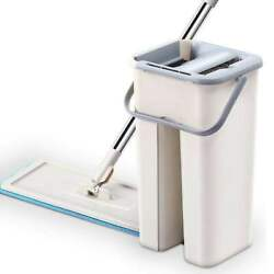 Self Cleaning Retractable Flat Mop + Bucket System Microfiber Pads High Quality