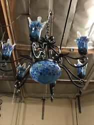 Vintage Wrought Iron Chandelier And Blue Blown Glass Shades Art Deco Styl Handmade