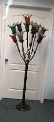 Wrought Iron Floor Lamp 11 Multi Color Glass Shades 2