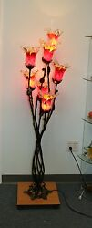Modern Wrought Iron Floor Lamp And 7 Red Glass Shades Europe/romania