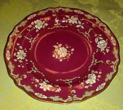 1 Spode Copeland China Scallop Luncheon Plate And Co N.y. Ruby Tonquin