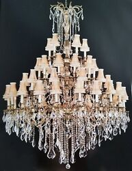 Palace Royal 45 Light Shades French Gold Foyer Crystal Chandelier Light 50