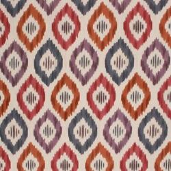 Cotton Upholstery Drapery Ikat Fabric Purple Taupe Red Blue Orange / Prism