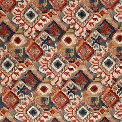 Cotton Upholstery Drapery Ikat Fabric Navy Blue Rusty Red Gray / Earthwind