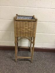 """Antique Vintage Square Wicker Planter Plant Stand With Metal Insert 28"""" X 11"""""""