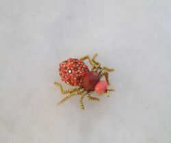 VINTAGE JOAN RIVERS SPIDER BUG JEWELED RHINESTONE CRYSTAL PIN BROOCH