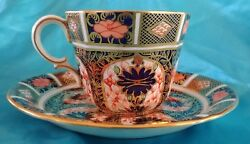 Royal Crown Derby English Bone China Old Imari Pattern Footed Tea Cup And Saucer