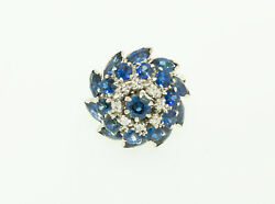 Antique Ballerina Style With Natural Sapphires And Diamonds White Gold Ring.