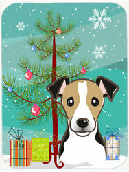 Under the Christmas Tree and Jack Russell Terrier Glass Cutting Board BlackTan