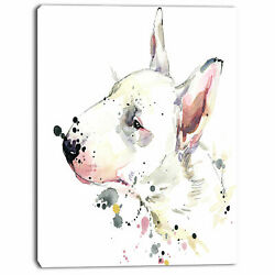 Design Art 'Bull Terrier Dog Watercolor' Painting Print on Wrapped Canvas