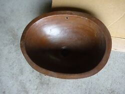 Hammered Copper Oval Lavatory Sink Basin Drop Insmall Heavy Duty Bathroom 14.25