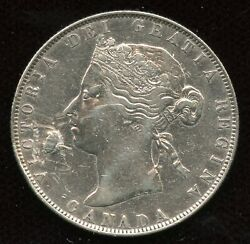 1871 Half Dollar Canada Fifty Cents Silver Coin Ef Details - Plugged