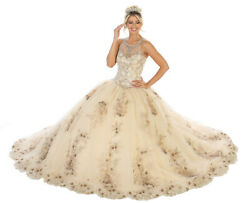 ELEGANT QUINCEANERA FLORAL  MASQUERADE SWEET 16 DESIGNER PROM MILITARY BALL GOWN $519.99
