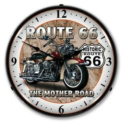 Retro Route Rt 66 Motorcycle Game Room Man Cave Backlit Led Lighted Wall Clock
