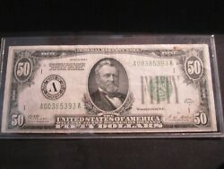 1928a 50 Fifty Dollars Gold On Demand Federal Reserve Note