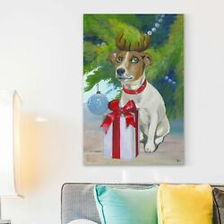Ivy Bronx 'Reindeer Terrier' Painting Print on Wrapped Canvas