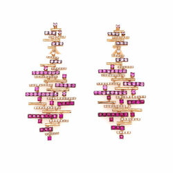3.00 Cttw Pink Sapphire And Diamond Hanging Earrings 18k Rose Gold Omega Backs