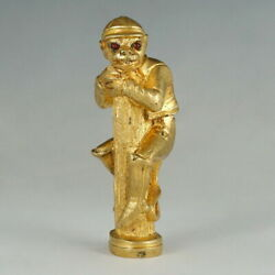 Antique Gilt Bronze Wax Seal Desk Stamp Figural Monkey Red Glass Jeweled Eyes