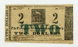 1862 $2 The Parish of St. Mary - Franklin LOUISIANA Note CIVIL WAR Era AU