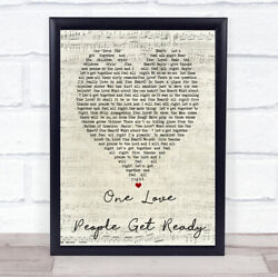One Love People Get Ready Script Heart Quote Song Lyric Print
