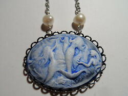 Mermaids Cameo Necklace Antique Silver Necklace 20 Blue Fresh Water Pearl