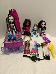 Monster High Mattel Barbie Dolls W/bed And Accessories And Enchantimals Peacock Doll