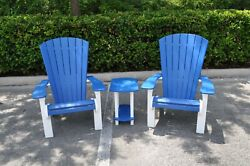 Hdpe Adirondack Chair And Side Table Set White And Blue