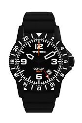 New Trintec Aviation Co-pilot Gmt Menand039s Black Steel Watch W/ Rubber Band + Orang