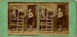 Dutch Farm Life - Wooden Shoes Boy On Ladder Old House 1860s Stereoview