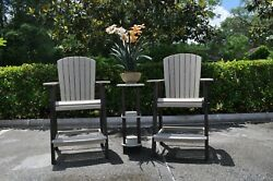 Enduro Outdoors Hdpe Pub Chair And Side Table Set Brown/driftwood