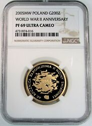 2005 Mw Gold Poland 200 Zlotych Wwii Anniversary Planes In Flight Ngc Pf 69 Uc