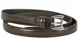 New Gucci Women's $240 331689 Dark Olive Green Patent Leather Skinny Belt 28 70 $161.08