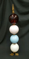 Antique Round Glass Lightning Rod Ball Art Work With Brass Accents