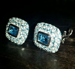 18k Solid White Gold Blue Topaz Ring Size 6.75 And Matching Earrings