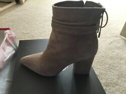 Vince Camuto Women's Suede Block Heeled Ankle Boots Salali Chateau Shoes Nib 9