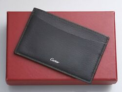 H6170M Authentic Cartier Genuine Leather Business & Credit Card Case *Good