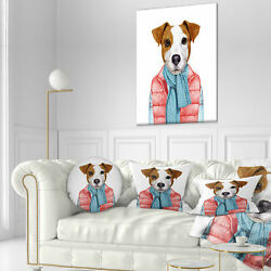 East Urban Home Animal Funny Jack Russell in Formal Suit Throw Pillow
