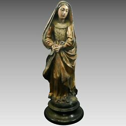 Antique Hand Carved Wood Polychrome Statue Of Virgin Mary In Pray Mexico