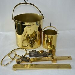 Lot Antique Fairbanks And Greenleaf Brass Beam Hanging Grain Tester Scale Buckets