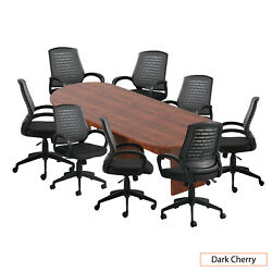 Gof 10 Ft Conference Table With 8 Chairs Dark Cherry 9-piece Table Set