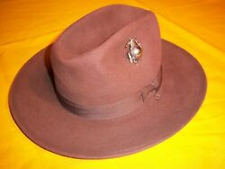 Rare 1910 Dated Usmc Star Vent Fore Aft Roll Brim Campaign Hat Unissued Sz 6.5