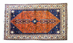 Large Vintage Abadeh 100 Wool Persian Rug Carpet 120 X 80 Inches 20th Century
