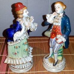 Vintage Victorian Couple Man And Woman Porcelain Figurines Occupied Japan
