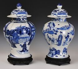 A Pair Large and Rare Chinese Qing Kangxi Style Blue and White Temple Jars.