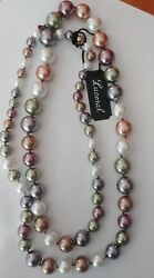 Lucoral Colorful Faux Pearl Strand 36andrdquo Sterling Clasp New With Tags