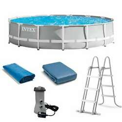 Intex 15 Foot X 42 Inch Prism Frame Above Ground Swimming Pool Set Open Box