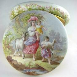 Large Antique French Enamel On Copper Jewelry Box Hand Painted Mother And Children